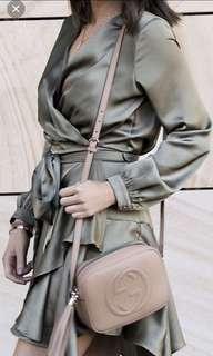 SHEIKE Khaki Olive Silky Wrap Dress size 8