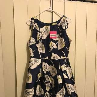 Navy Rose Digital Print Dress