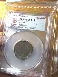 銅元兩枚 滿州國一分 黨旗麥穗二十文 品相如圖,老包漿,1934年的偽滿州國一分銅幣,1912年的黨旗麥穗20文銅幣,保真貨,性價比極高