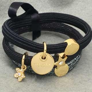 Marc Jacobs Sample Hair Band Bracelets set 黑色配金色閃石星星花花橡筋組合 可以作為手鏈