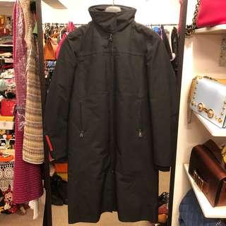 Prada black long overcoat jacket size 38