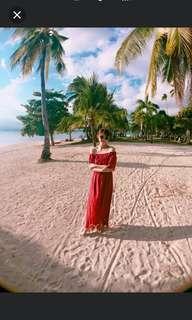 韓 一字領簍空蕾絲紅色縮腰長洋裝