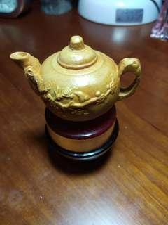 原木雕小茶壺