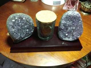 兩個紫晶鎮+五行石+底座
