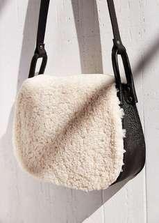 Ecote black leather saddle bag