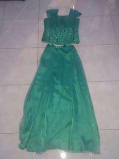 Long Dress pesta Hijau