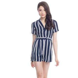 Preloved - TCL Suit Up Stripes Romper   (Size S)