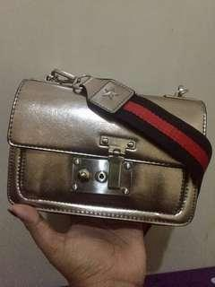 zara crossbody metallic bag