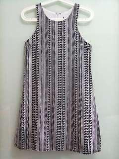 Sleeveless Monochrome Geometric Dress
