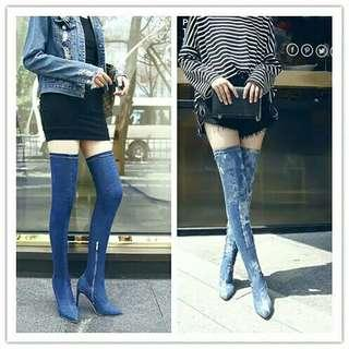 Fm sepatu boots denim high heels