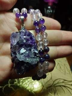 自紫晶簇項鏈
