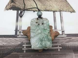 舊工天然翡翠糯種飄綠福壽雙全掛件