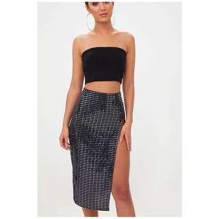 Brand new thigh high sparkle split skirt