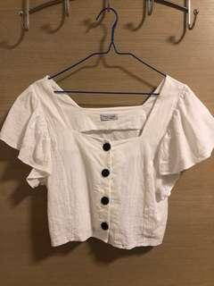 White broad neck top