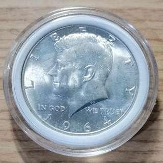 美國1964年甘迺迪半美元銀幣 高銀版 UNC 保真 附內墊小圓盒