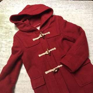 冬天 紅色有帽漁夫褸 牛角䄛