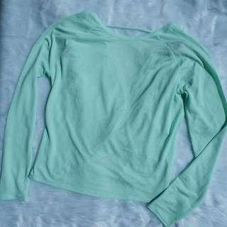 Mint Green Backless Long Sleeve Top