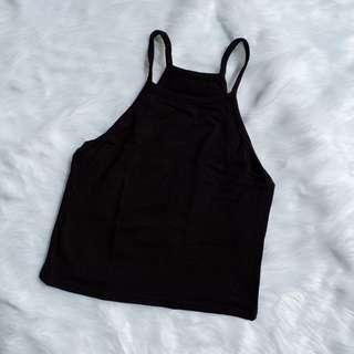 Black Racerback Spaghetti Strap Crop Top