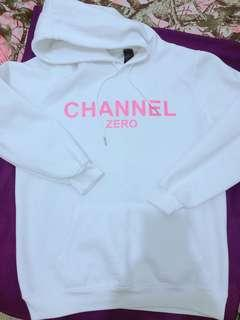 Channel Zero White Hoodie with pocket (worn once/good as new) (unisex)