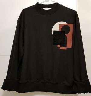 【韓國品牌】黑色型格寬鬆衛衣 Black Cotton Top