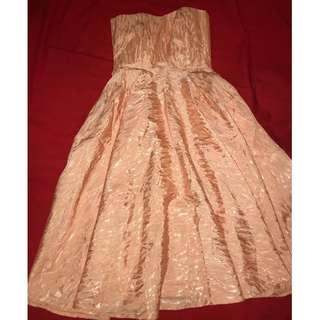 Vintage Peach Colored strapless even dress with matching Jacket with laces flowers