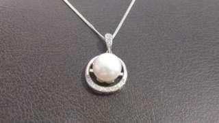 天然淡水珍珠吊咀連925銀頸鏈