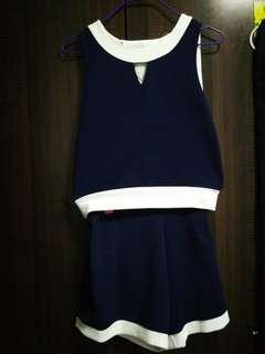 Navy blue top with shorts