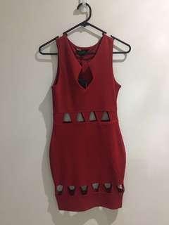 Size 8 red stylish bodycon dress