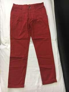 Petite unique fold up red jeans
