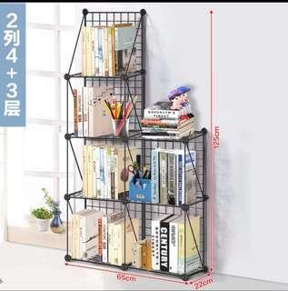 (兩列4+3層)DIY組合桌面整理小書架置物鐵網網格層架多層可拆裝宿舍置物架小空間