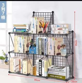 3列7格,DIY組合桌面整理小書架置物鐵網網格層架多層可拆裝宿舍置物架小空間