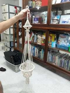 vintage macrame hanging pot holder