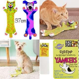 BN 37cm Fat Cat Incredible Strapping Flip-Flop Yankers Dog Toy