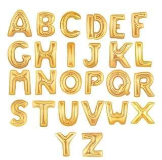 Gold Foil 16 Inch Alphabet Balloons