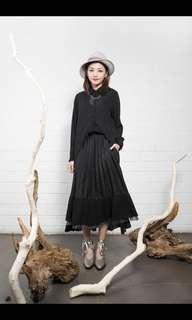 Rococo skirt 黑色前短後長
