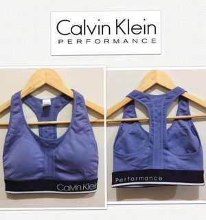 Calvin Klein Performance Quick Dry Logo Razorback Sports Bra-Cornflower Blue