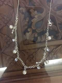 (BN) Deepavali Clearance Sale Only from 9th Oct - 6th November - Silver Coated Pearl & White Stone Necklace