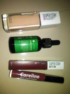 Maybelline Superstay full coverage foundation , maybelline superstayatte ink, careline matte liquid lipstick,Lily's touch snail serum take all bundle only for 600pesos nalang