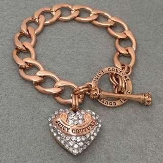 Juicy Couture Sample Bracelet 玫瑰金色閃石心心手鏈