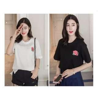 🚚 #002 embroidered flower shirt ( black / white )