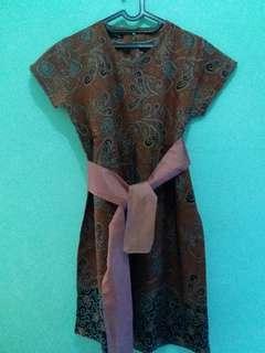 Freeong Dress Batik Coklat (jabodetabek)