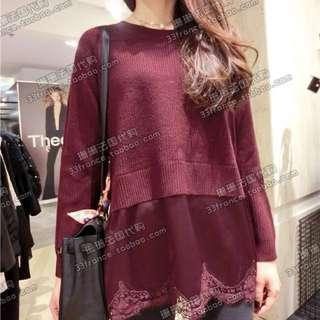 Sandro wine red sweater with lace