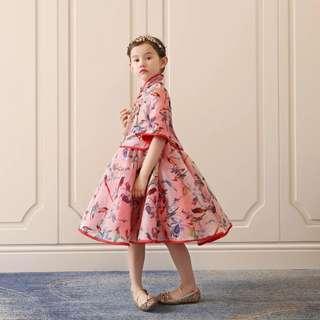 High quality 2pc set chinese collar modern dress 100cm