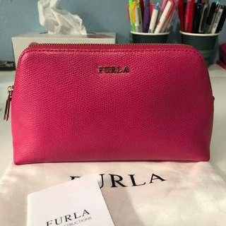 AUTHENTIC FURLA HOT PINK COSMETIC MAKEUP POUCH BAG