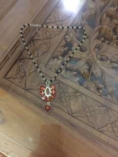(BN) Deepavali Clearance Sale Only from 9th Oct - 6th November - Orange Pendant black beads Chain