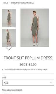 Collate the label front slit peplum dress