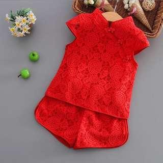 Lace Cheongsam 2pc Set [PO] / Red Cheongsam / children kids babies toddler CNY clothes / girl clothes / girl cheongsam set / pretty CNY clothes