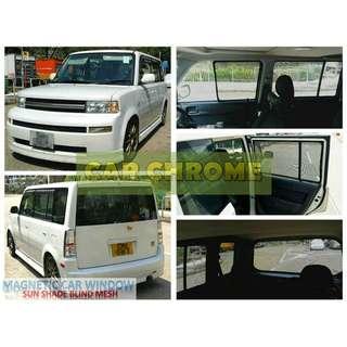 豐田 TOYOTA bB Ncp3# (2000/01 - 2005/12) 專用全車磁石版本窗網 一套7件: 包括: 前窗 x 2、中門 x 2、尾窗 x 2、尾門窗 x 1 (MAGNETIC CAR WINDOW SUN SHADE BLIND MESH)