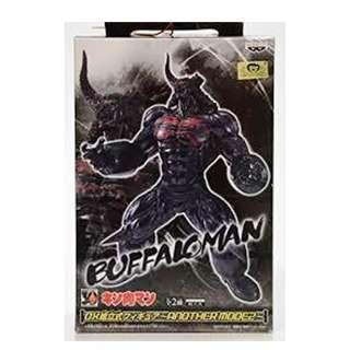 絕版 原裝 無盒 全新 2009年 Bandai 眼鏡廠 筋肉人 固定形勢景品 DX 組立式 6吋高 黑版斷角version 水牛 Buffaloman figure 1款
