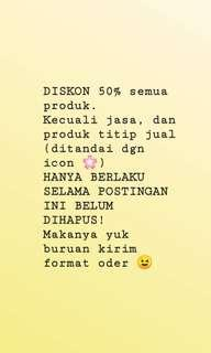 DISCOUNT 50% all items*